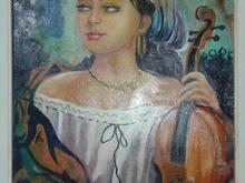 تابلو  رنگ و روغن دختر  ویلنیست در شیپور-عکس کوچک