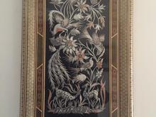 تابلو نقش برجسته مسی و نقره ای طرح پرندگان در شیپور-عکس کوچک