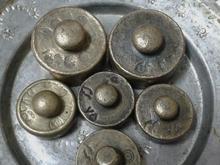 وزنه برنجی قاجاری با مهرو تاریخ 6 عدد بکر کمیاب  در شیپور-عکس کوچک