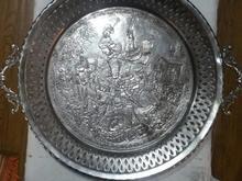 سینی دسته دار چای خوری برنز قدیمی و سنگین وزن در شیپور-عکس کوچک