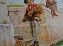 تابلو نقاشی رنگ و روغن پسر ماهیگیر 100*80باقاب در شیپور-عکس کوچک