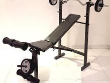 میز پرس بدنسازی+میله هالتر+30کیلو وزنه+دسته دمبل در شیپور-عکس کوچک
