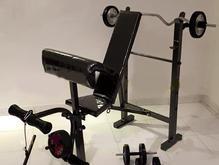 میز پرس بدنسازی10+میله هالتر+30کیلو وزنه+دسته دمبل در شیپور-عکس کوچک