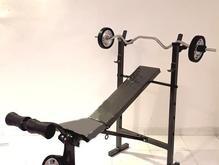 میز پرس7کاره+میله هالتر+30کیلو وزنه+دسته دمبل  در شیپور-عکس کوچک