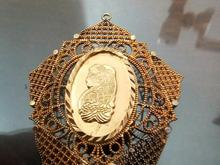 آویز گردنبند برنجی آب طلا قدیمی  نقش حضرت مریم در شیپور-عکس کوچک