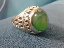 انگشتر عقیق سبز رکاب زخیم سنگین در شیپور-عکس کوچک