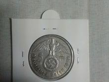 5 مارک نقره المان نازی  صلیب شکسته در شیپور-عکس کوچک