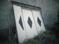 درب حیاط سه لنگه، بدون پوسیدگی، همراه باقفل درب در شیپور-عکس کوچک