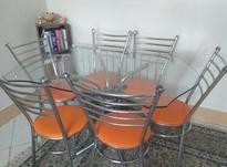 میز نهار خوری 6 نفره استیل و چرم  در شیپور-عکس کوچک