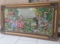 تابلو دستباف نقشه الیزابت فرانسه ای دور چوب حکاکی شده در شیپور-عکس کوچک