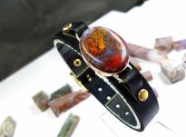 دستبند چرم گردنبند اونیکس عقیق جاسپر شجر دریایی نگین سنگ در شیپور-عکس کوچک